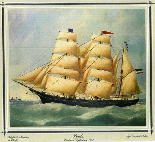 Thông tin ghi trên thông điệp trong chai trùng khớp với hải trình cổ của tàu Paula (Đức). Ảnh: New York Times