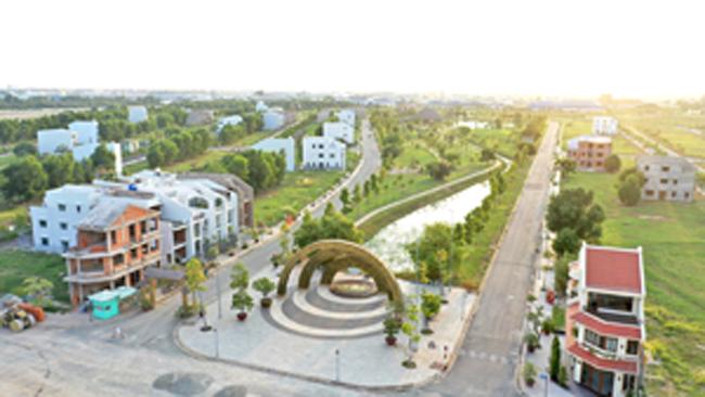 Dự án đã cơ bản hoàn chỉnh hạ tầng với mảng xanh phủ khắp nơi.