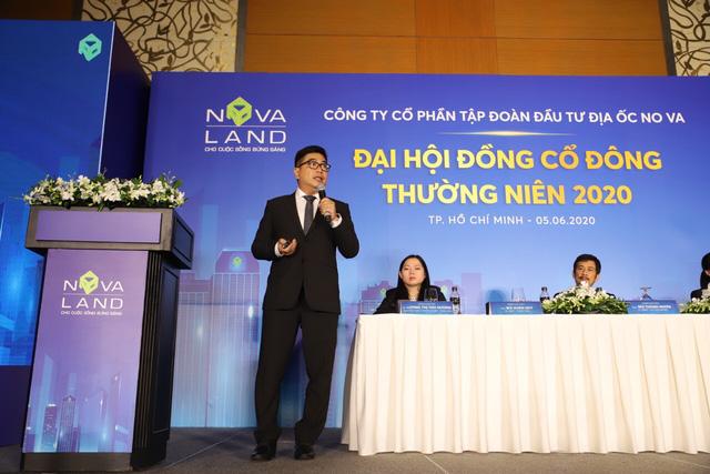 Ông Bùi Xuân Huy, Tổng giám đốc Novaland chia sẻ về chiến lược kinh doanh của Novaland tại Đại hội cổ đông thường niên vào sáng 5/6/2020.
