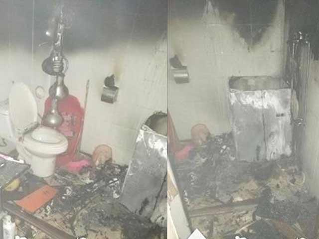 Phòng tắm của căn hộ chung cư bị cháy rụi.