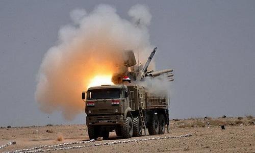 Tổ hợp tên lửa - pháo phòng không Pantsir-S1 của Quân đội Syria. Ảnh: TASS.