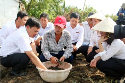 Anh Lưu Minh Trí ở xã Nam Yên, huyện An Biên nuôi tôm quảng canh được hỗ trợ vốn vay từ Agribank nên đã mua thêm 4ha mở rộng diện tích nuôi. Ảnh: Lê Hoàng Vũ.