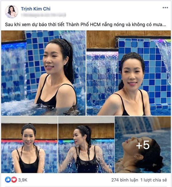 Trịnh Kim Chi thu hút sự chú ý khi đăng tải lện mạng xã hội loạt hình diện đồ bơi gợi cảm.