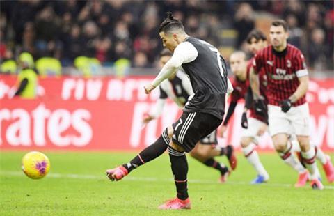 Trong 4 lần đụng độ Milan dưới màu áo Juventus, Ronaldo đã ghi 3 bàn