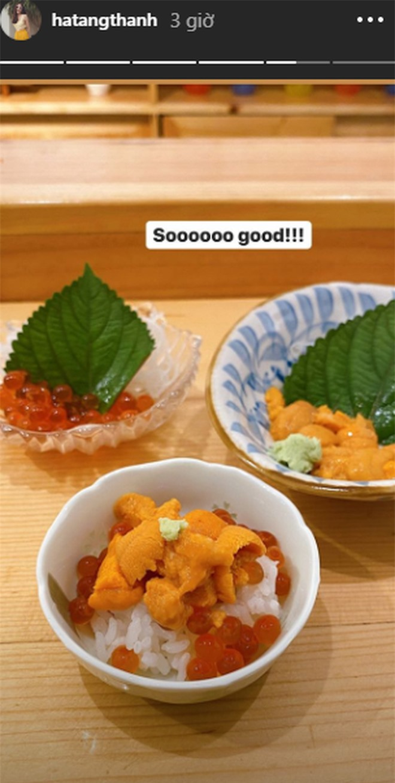 'Ngọc nữ màn ảnh' cũng khoe những món ăn Nhật hai vợ chồng đã thưởng thức.