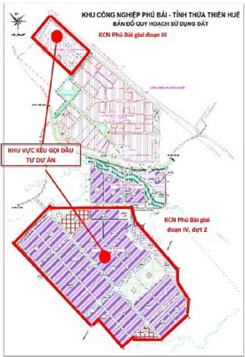 Sơ đồ vị trí Khu Công nghiệp Phú Bài giai đoạn III và giai đoạn IV, đợt 2 thuộc thị xã Hương Thủy, tỉnh Thừa Thiên Huế.
