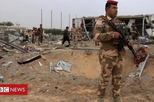 Căn cứ không quân Mỹ ở Taji vừa hứng chịu cuộc tấn công tên lửa. Ảnh: BBC.