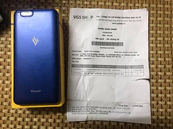 Chiếc điện thoại bác Phượng mua trên VGS Shop với giá 1.290.000 đồng.