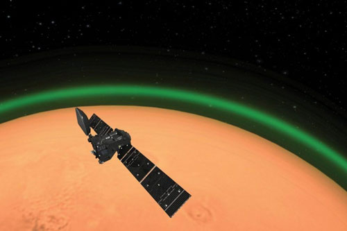 Lần đầu tiên phát hiện ánh sáng xanh hiếm có trên hành tinh đỏ.