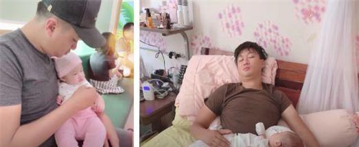 Chồng Hà Trang chăm sóc con gái chu đáo.