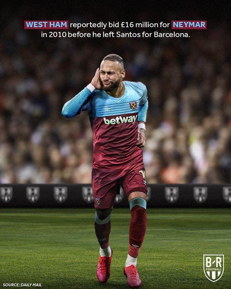 2. West Ham đã gửi lời đề nghị trị giá 11 triệu Bảng tới Santos để hỏi mua Neymar vào năm 2010