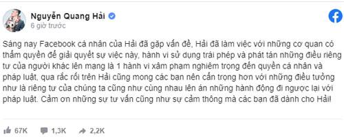 Tâm sự của Quang Hải sau khi bị hack Facebook.