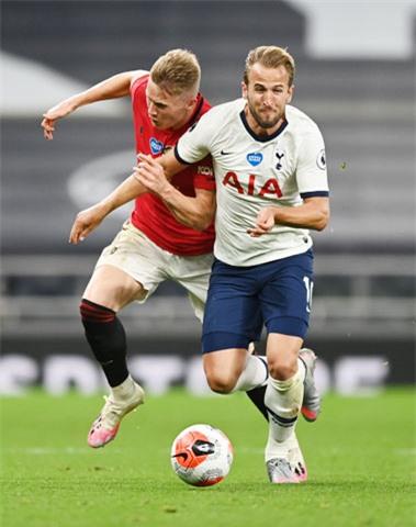 Harry Kane (áo sáng) đi bóng trong trận gặp M.U