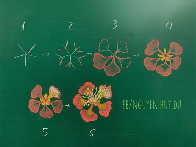 Thầy giáo 9X vẽ hoa phượng trên bảng phấn gây sốt cộng đồng mạng - Ảnh 1.