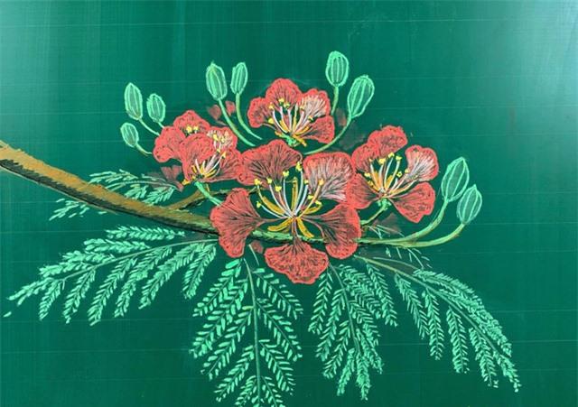 Thầy giáo 9X vẽ hoa phượng trên bảng phấn gây sốt cộng đồng mạng - Ảnh 6.