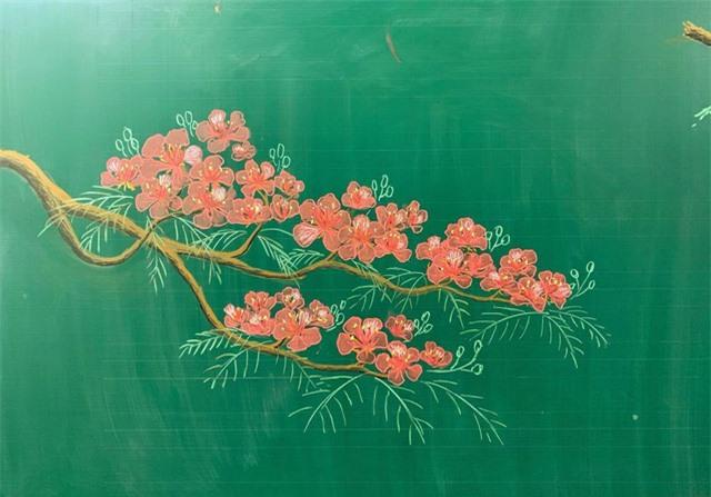 Thầy giáo 9X vẽ hoa phượng trên bảng phấn gây sốt cộng đồng mạng - Ảnh 9.