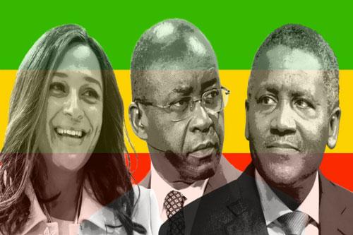 Từ trái sang, tỷ phú Isabel dos Santos, Strive Masiyiwa và Aliko Dangote - 3 trong số những doanh nhân gốc Phi giàu nhất thế giới.