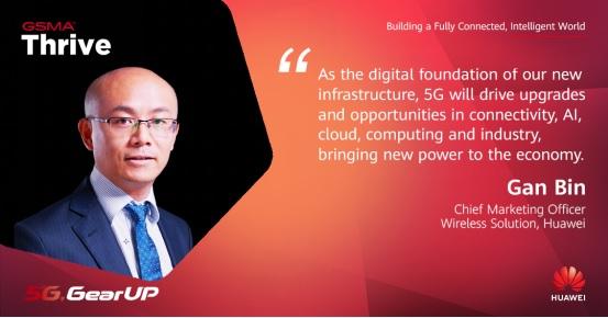 """ông Gan Bin, Giám đốc tiếp thị các Giải pháp mạng vô tuyến của Huawei, đã có bài phát biểu quan trọng với tựa đề """"5G mang đến năm cơ hội với giá trị mới""""."""