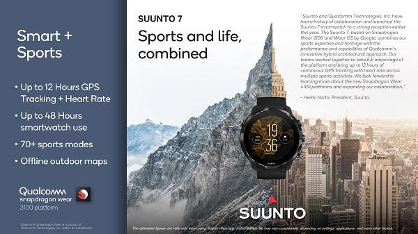 đồng hồ thông minh Suunto 7 đầu năm nay. Được phát triển trên nền tảng Snapdragon Wear 3100 và Wear OS của Google