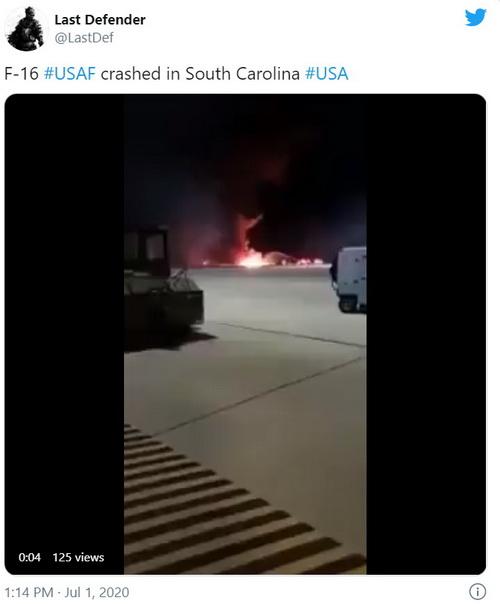 Tiêm kích F-16 của Mỹ bị rơi tại Nam Carolina. Ảnh: Last Defender.