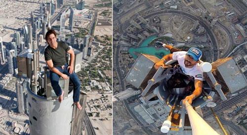 """Tầng cao nhất (163) không mở cửa cho người thường. Tuy nhiên, những người nổi tiếng và một số nhiếp ảnh gia, quay phim có thể được cấp giấy phép đặc biệt để lên đây. Tom Cruise từng có tấm ảnh check-in để đời trên tầng 163 của Burj Khalifa khi quay bộ phim """"Nhiệm vụ bất khả thi"""". Hoàng tử Sheikh Hamdan cũng gây chú ý khi ngồi chụp ảnh trên tầng cao nhất của tòa nhà vào năm 2013. Ảnh: Quora."""