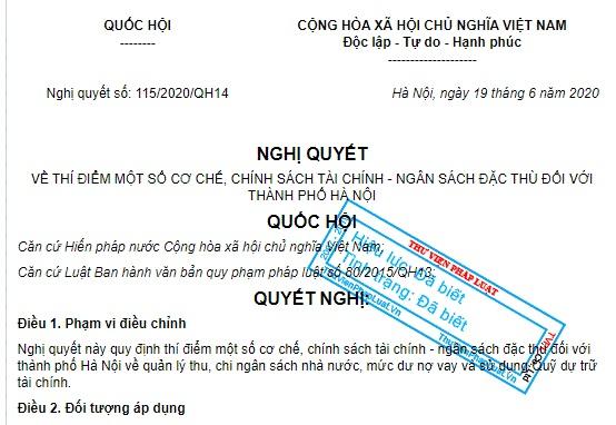 Hà Nội được thu một số phí ngoài danh mục của Luật từ 15/8/2020