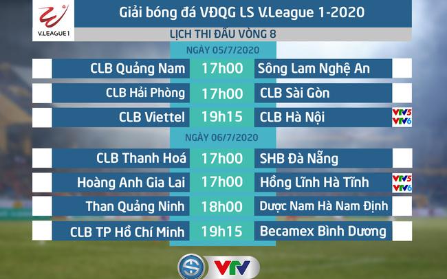 Lịch thi đấu và trực tiếp vòng 8 V.League 2020