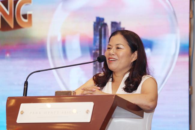 Bà Nguyễn Thị Minh Phượng, Tổng Giám đốc PPC An Thịnh, chia sẻ tại lễ kí kết đại lý chiến lược dự án Wyndham Soleil Danang