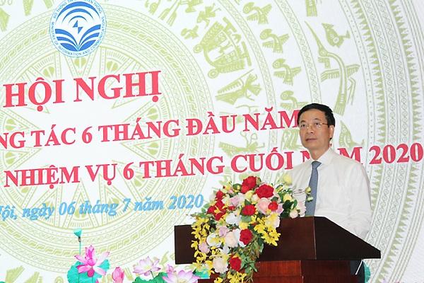 Bộ trưởng Nguyễn Mạnh Hùng phát biểu tại Hội nghị sơ kết 6 tháng đầu năm của Bộ TT&TT.