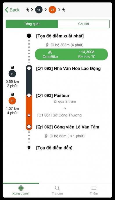 Tìm đường đi bằng xe buýt kết hợp Grab cho phép người sử dụng tìm kiếm đường đi bằng các phương tiện giao thông công cộng của thành phố.