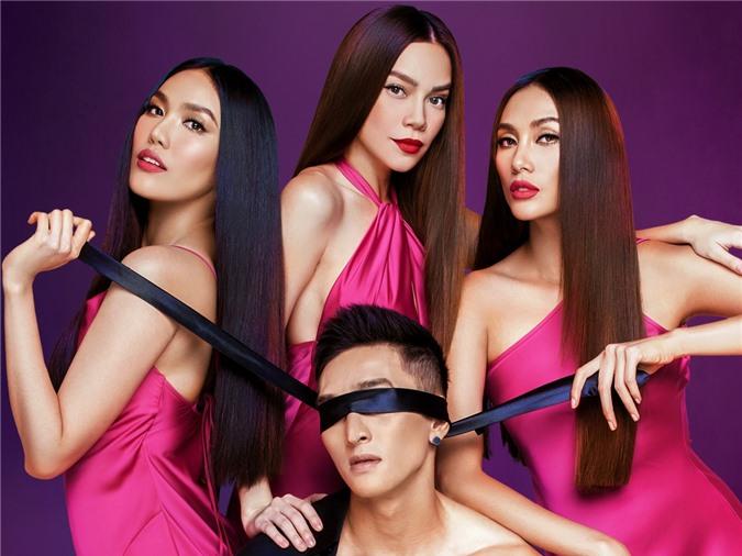 Ba người đẹp tạo dáng mạnh mẽ, giữ thế chủ động bên mẫu nam. Dự án của họ sẽ công bố vào ngày 19/7.
