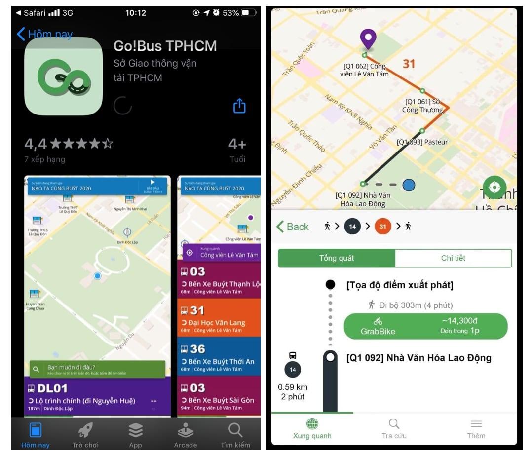 Tính năng kết nối với Grab và cung cấp thông tin cho hành khách ở bất cứ lúc nào, nơi đâu có thể truy vấn thông tin về thời gian thực của xe buýt tại TP.HCM để phục vụ nhu cầu của mình. (Ảnh: Internet)