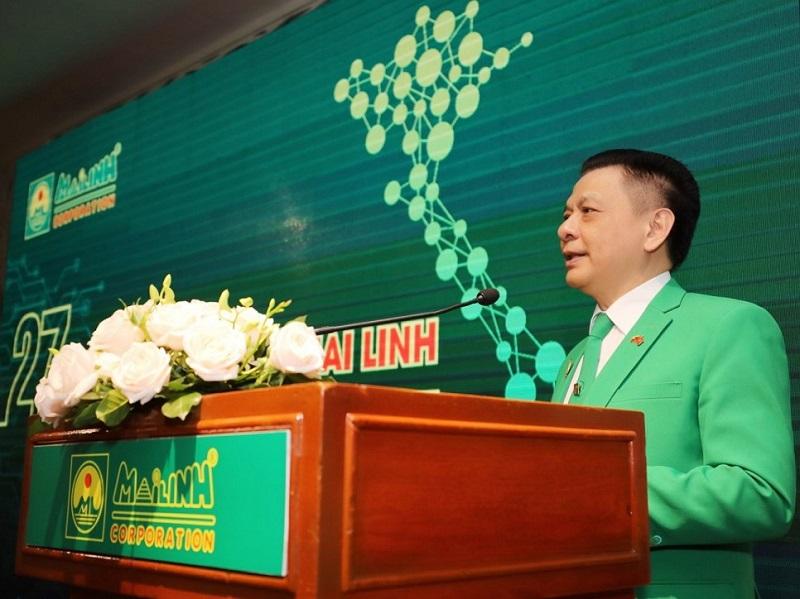 Chủ tịch Tập đoàn Mai Linh Hồ Huy phát biểu tại lễ kỷ niệm 27 năm hình thành phát triển Tập đoàn và đón nhận kỷ lục mới