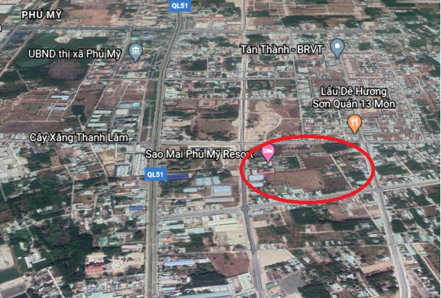 Vị trí khu đất thực hiện dự án Khu dân cư - du lịch Lộc An.
