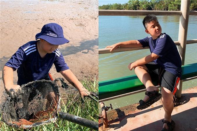 Lê Phương dạy dỗ con trai hướng về  thiên nhiên, thay vì chỉ tập trung đồ công nghệ như điện thoại, Ipad. Trước đó, cô cho con tha hồ lội bùn ở Cồn Chim (Trà Vinh), giúp trải nghiệm cuộc sống thôn quê.
