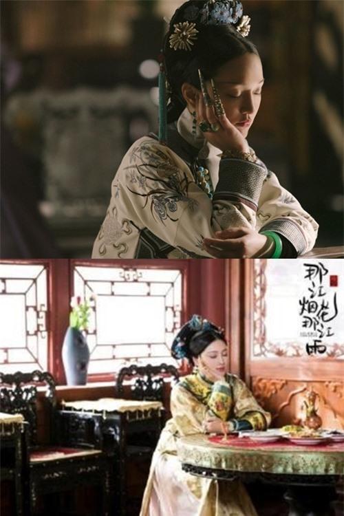 Kế hoàng hậu trong Như Ý truyện (trên) và một nhân vật nữ trong Pháo hoa sông kia, mưa sông đó (dưới).