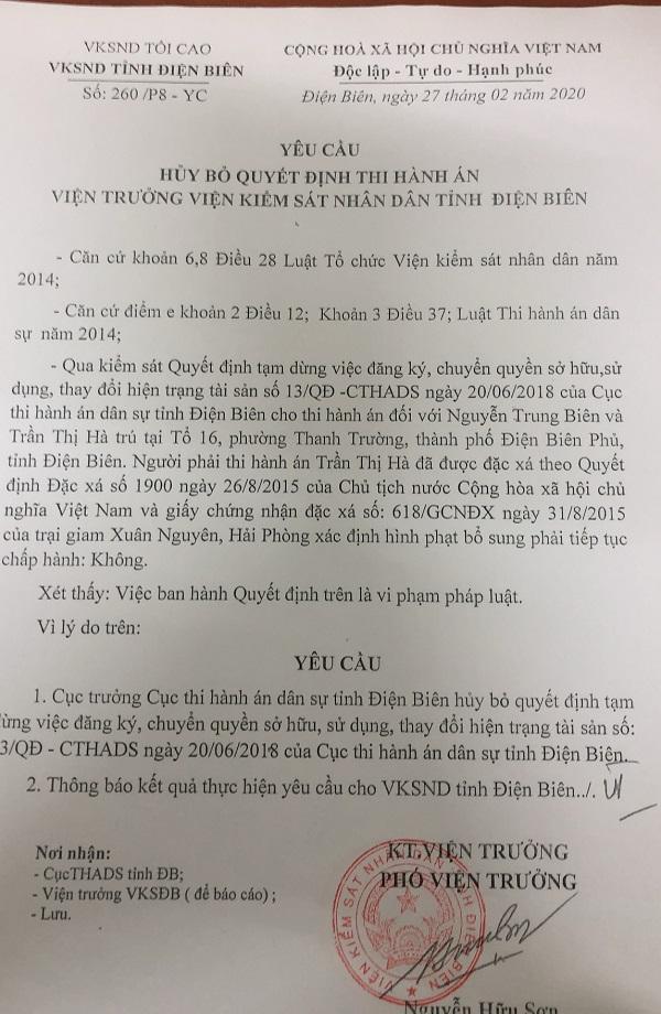 Yêu cầu hủy bỏ quyết định thi hành án trái pháp luật của Viện Kiểm sát nhân dân tỉnh Điện Biên.