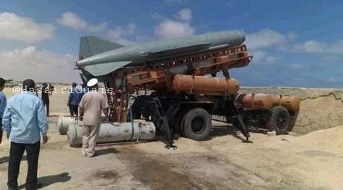 Tên lửa chống hạm P-15 Termit của lực lượng LNA. Ảnh: Al Masdar News.