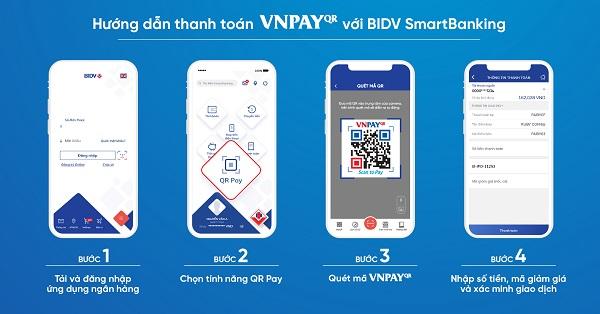 Khách hàng có thể thanh toán VNPAY-QR dễ dàng qua ứng dụng các ngân hàng.