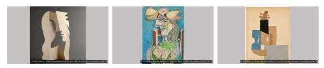 Một số tác phẩm cắt dán và vẽ trên giấy của Picasso.