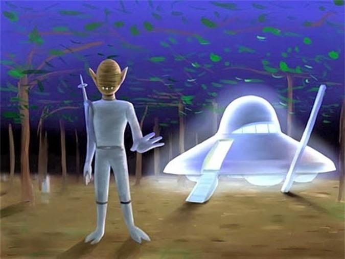 Người ngoài hành tinh qua mô tả của hai cậu bé ở thành phố Sayama.