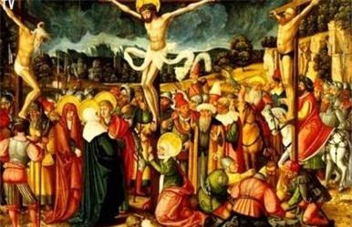 Chúa Jesus bị đóng đinh trên cây thánh giá.