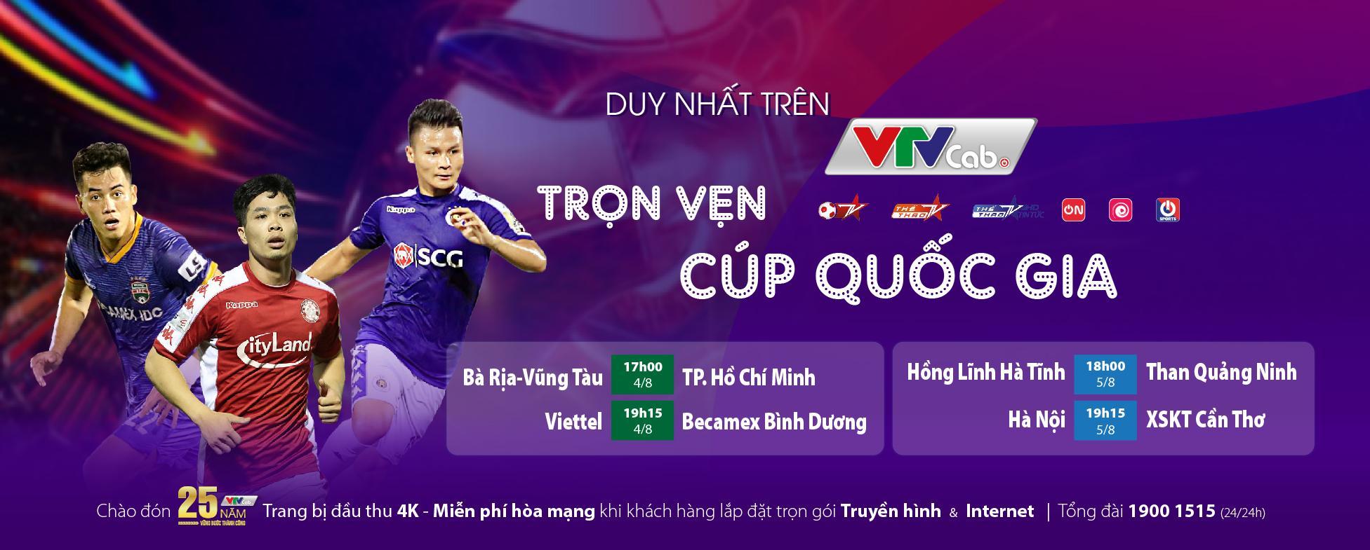 Lịch thi đấu Cúp Quốc gia mới nhất trên các kênh sóng VTVcab.