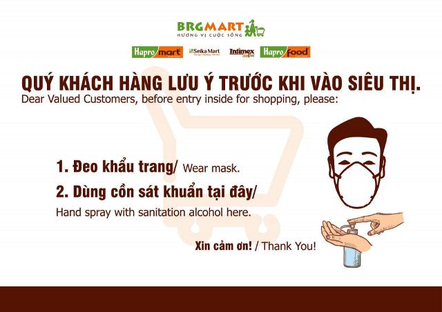 Biển thông tin hướng dẫn phòng chống dịch tại các siêu thị, Minimart thuộc BRGMart