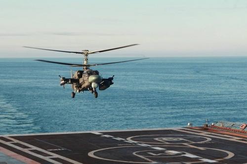 Trực thăng tấn công hải quân Ka-52K của Nga. Ảnh: TASS.