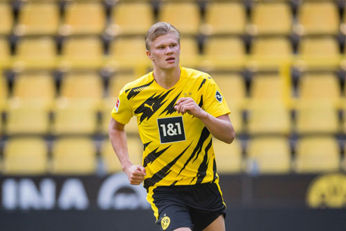 2. Erling Haaland (Borussia Dortmund, giá trị chuyển nhượng hiện nay: 64,8, mức tăng giá: 24,3 triệu bảng).
