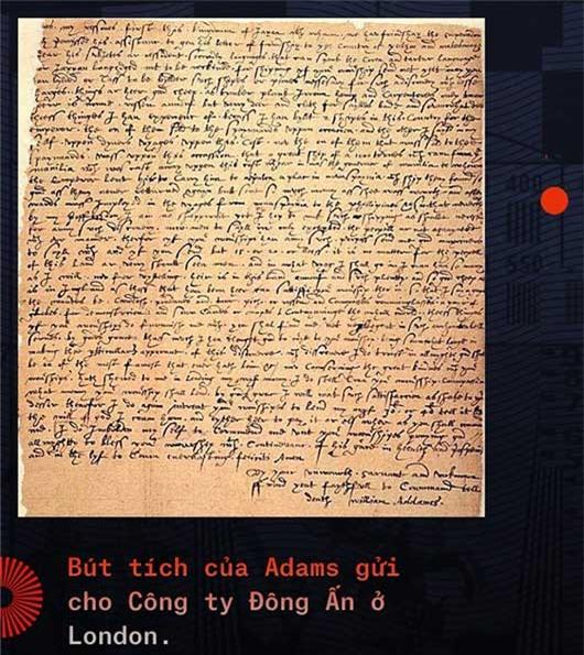 Bút tích của Adams gửi cho công ty Đông Ấn ở London