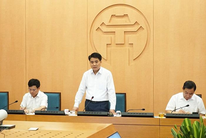 Chủ tịch UBND thành phố Hà Nội Nguyễn Đức Chung phát biểu kết luận cuộc họp