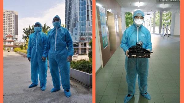 Nhân viên Viettel lắp đặt cầu truyền hình tại các bệnh viện bị cách ly ở Đà Nẵng.