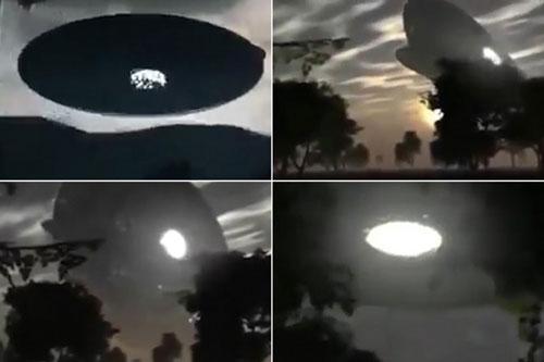 Đĩa bay khổng lồ xuất hiện trên bầu trời khiến nhiều người hoang mang